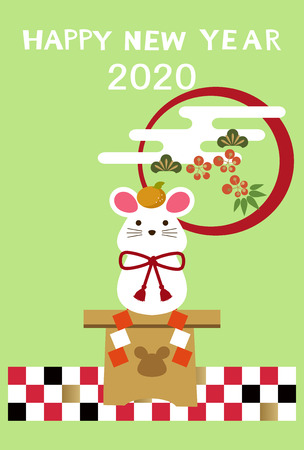 New Year's card design with mouse. New Year Greeting Card. New Year's card with a mouse illustration. New Year's card with illustration of Zodiac signs.