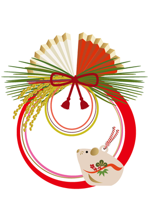 Japanese New Year Ornament with Zodiac animal. Auspicious interior mouse with. New Year's Wall decoration.