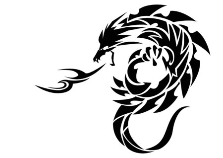Illustration of a dragon for a sticker. Tribal Dragon. Tattoo design. Dragon sticker. Tribal Dragon for tattoo. Art of two dragons. 일러스트
