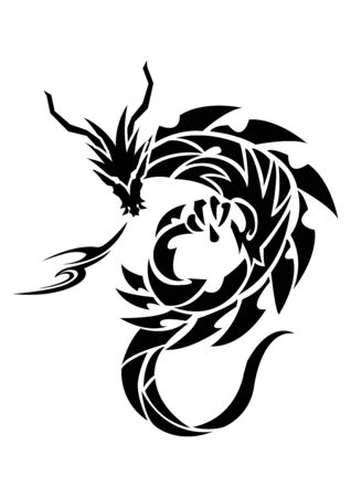 Illustration of a dragon for a sticker. Tribal Dragon. Tattoo design. Dragon sticker. Tribal Dragon for tattoo. Art of two dragons. Stock Illustratie