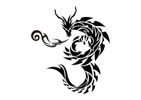 Illustration of a dragon for a sticker. Tribal Dragon. Tattoo design. Dragon sticker. Tribal Dragon for tattoo. Art of two dragons. Illustration