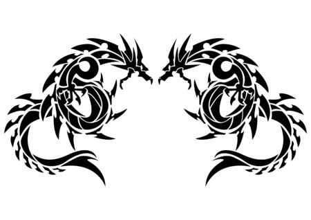 Illustration d'un dragon pour un autocollant. Dragon tribal. Conception de tatouage. Autocollant de dragon. Dragon tribal pour le tatouage. Art de deux dragons. Vecteurs