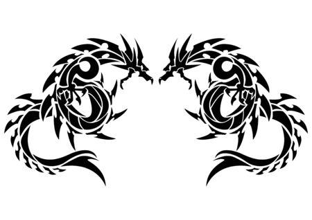 Ilustración de un dragón para una pegatina. Dragón tribal. Diseño de tatuaje. Etiqueta engomada del dragón. Dragón tribal para tatuaje. Arte de dos dragones. Ilustración de vector