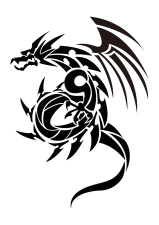 Illustration of a dragon for a sticker. Tribal Dragon. Tattoo design. Dragon sticker. Tribal Dragon for tattoo. Art of two dragons.