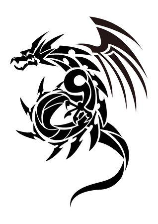 Illustrazione di un drago per un adesivo. Drago Tribale. Disegno del tatuaggio. Adesivo drago. Drago tribale per tatuaggio. Arte di due draghi.
