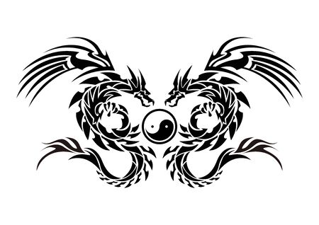 Illustration of a dragon for a sticker. Tribal Dragon. Tattoo design. Dragon sticker. Tribal Dragon for tattoo.
