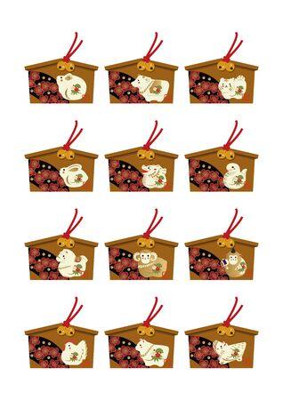 Illustration of the zodiac for Japanese style. New Year zodiac clip art. Twelve animal ses. translation: