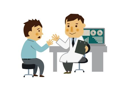 Doctor and Patient. The image of the examination room. Illustration of a medical examination.