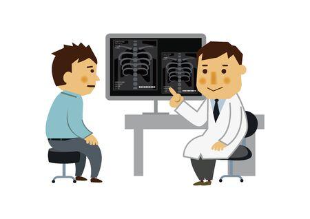 Arzt und Patient. Das Bild des Untersuchungsraums. Illustration einer ärztlichen Untersuchung. Vektorgrafik