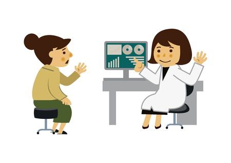 Female doctor and female patient. The image of the examination room. Illustration of a medical examination.