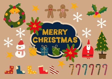 Illustration material collection for Christmas. Christmas badge. Christmas icons. Archivio Fotografico - 133675294