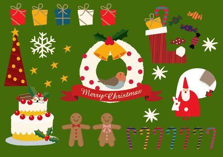 Illustration material collection for Christmas. Christmas badge. Christmas icons. Archivio Fotografico - 133675296