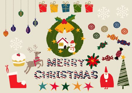 Illustration material collection for Christmas. Christmas badge. Christmas icons. Archivio Fotografico - 133675299