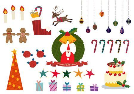 Illustration material collection for Christmas. Christmas badge. Christmas icons. Archivio Fotografico - 133675297
