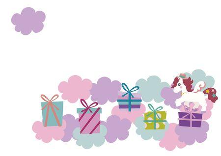 Vector illustration of cute pegasus. Cute cartoon character.