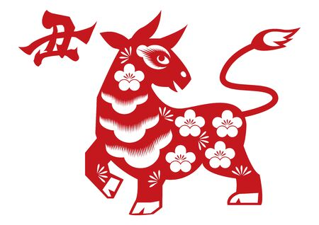 Chinese style paper cutout illustration. Cow vector illustration. Character Design. Cattle character design. Illustration of Zodiac.Cattle Character Design.