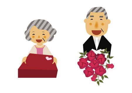 Illustration of celebration scene. Old Man and Old Woman Are Giving Presents.