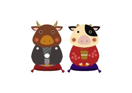 Japanese style cow character. Zodiac clip art. Cow and Bull Vector Art for the New Year Season. Illustration material for the New Year Season. Standard-Bild - 139583881