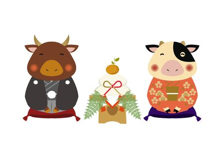 Japanese style cow character. Zodiac clip art. Cow and Bull Vector Art for the New Year Season. Illustration material for the New Year Season. Standard-Bild - 139583884
