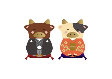 Japanese style cow character. Zodiac clip art. Cow and Bull Vector Art for the New Year Season. Illustration material for the New Year Season. Standard-Bild - 139583889