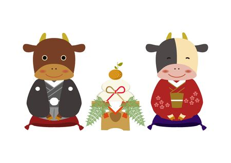 Japanese style cow character. Zodiac clip art. Cow and Bull Vector Art for the New Year Season. Illustration material for the New Year Season. Standard-Bild - 139583678