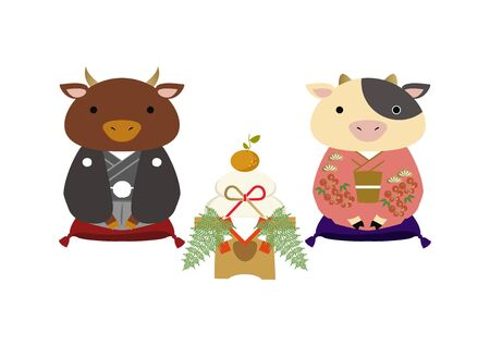 Japanese style cow character. Zodiac clip art. Cow and Bull Vector Art for the New Year Season. Illustration material for the New Year Season. Çizim