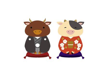 Caractère de vache de style japonais. Clipart du zodiaque. Art vectoriel vache et taureau pour la saison du nouvel an. Matériel d'illustration pour la saison du nouvel an. Vecteurs