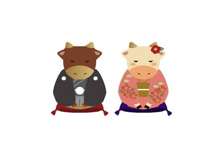 Japanese style cow character. Zodiac clip art. Cow and Bull Vector Art for the New Year Season. Illustration material for the New Year Season. Standard-Bild - 139583693