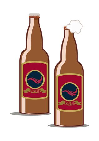Illustration of a beer bottle. vector art of beer bottles.  イラスト・ベクター素材