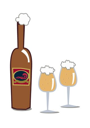 Illustration of a beer bottle. vector art of beer bottles. 向量圖像