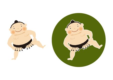Sumo is traditional Japanese sport. An Illustration of the Sumo Wrestler. vector illustration of Sumo wrestler.. Character Design. A clip art of Sumo wrestler. Standard-Bild - 138970981
