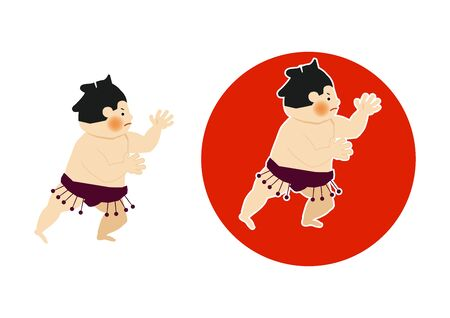 Sumo is traditional Japanese sport. An Illustration of the Sumo Wrestler. vector illustration of Sumo wrestler.. Character Design. A clip art of Sumo wrestler.