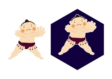 Sumo is traditional Japanese sport. An Illustration of the Sumo Wrestler. vector illustration of Sumo wrestler.. Character Design. A clip art of Sumo wrestler. Standard-Bild - 138927719