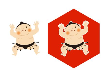Sumo is traditional Japanese sport. An Illustration of the Sumo Wrestler. vector illustration of Sumo wrestler.. Character Design. A clip art of Sumo wrestler. Standard-Bild - 138970990