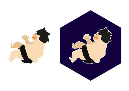 Sumo is traditional Japanese sport. An Illustration of the Sumo Wrestler. vector illustration of Sumo wrestler.. Character Design. A clip art of Sumo wrestler. Standard-Bild - 138928327