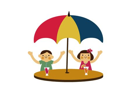 Boy and Girl Under Umbrellas. Season clip art. Summer illustration. Standard-Bild - 139984971
