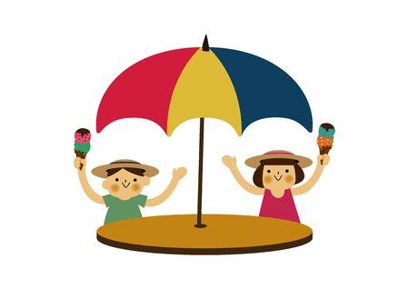 Boy and Girl Under Umbrellas. Season clip art. Summer illustration.