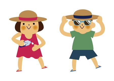 Boy and Girl and Applying On sunscreen. Summer clip art. Character Design. Illustration of Boy and Girl with Sun.