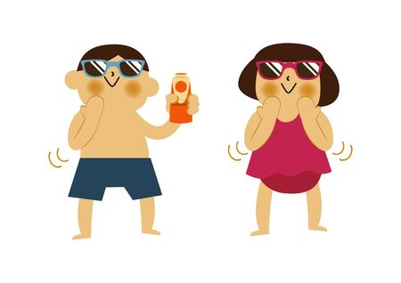 Boy and Girl and Applying On. Summer clip art. Character Design. Illustration of Boy and Girl with Sun. Ilustracja
