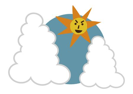 Image of summer. Illustration of the summer sun. Strong sunbeam clip art.