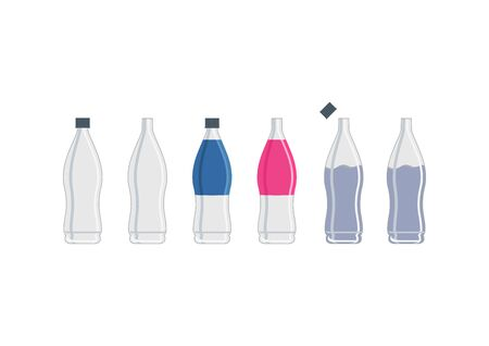 Variations of plastic bottles. Illustration set of plastic bottles. Plastic bottle. Ilustracja
