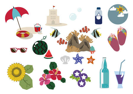 Summer illustration materials.Bathing in the sea.Seasonal icons.