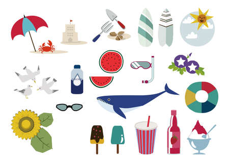 Summer illustration materials.Bathing in the sea.Seasonal icons.