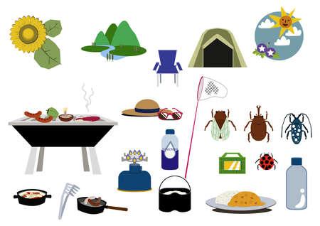 Summer illustration materials. Seasonal icons.Outdoors.  イラスト・ベクター素材