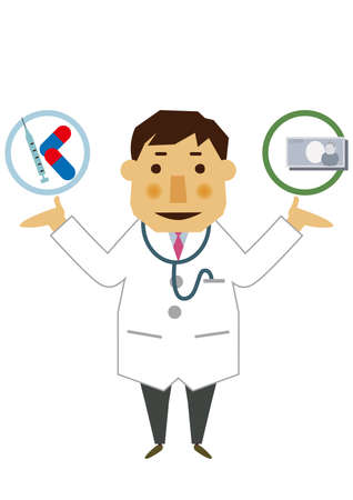 Illustration of occupation. Illustration material of a doctor. Clip art of a male doctor. Medical materials.  イラスト・ベクター素材