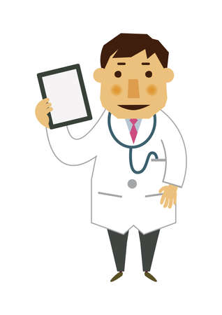 Illustration of occupation. Illustration material of a doctor. Clip art of a male doctor. Medical materials. Stock Illustratie