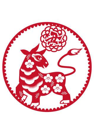 Chinese style cutout. Zodiac paper-cutting