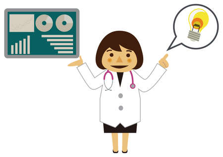Illustration of occupation. Illustration material of a doctor. Clip art of a female doctor. Medical materials.