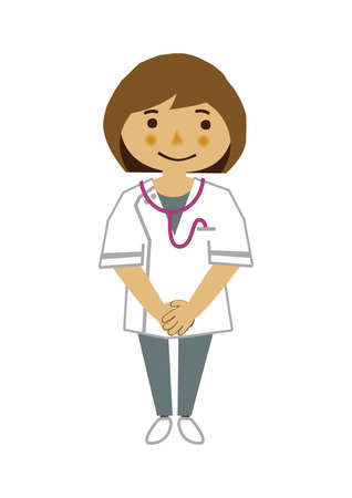 Illustration of occupation. Clip art of a female nurse. A medical Illustration materials. Vectores