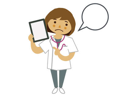 Illustration material of a female nurse.  Illustration of occupation. Clip art of  female nurse. A medical Illustration materials.